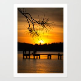 Belmont, Green Point, Australia Jetty at Sunset (Portrait) Art Print