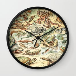 Reptiles II by Adolphe Millot // XL 19th Century Snakes Lizards Alligators Science Textbook Artwork Wall Clock