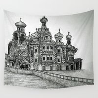 russia Wall Tapestries featuring St. Petersburg, Russia by Olivia Nicholls-Bates