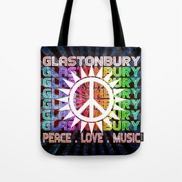 Glastonbury Peace Love Music Tote Bag