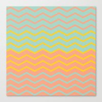 Colorful Chevron on Peach and Mint Canvas Print