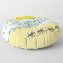 keep it simple // single fin // retro surf art by surfy birdy Floor Pillow