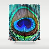 peacock feather Shower Curtains featuring Peacock Feather by rapplatt