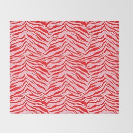 Tiger Print - Red and Pink Throw Blanket