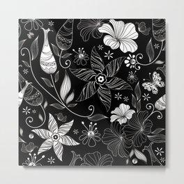 floral flower rose black leafe Metal Print