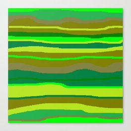 Green Multi Brush Strokes Canvas Print