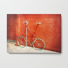 Red Tall Bike Against Brick Wall Metal Print