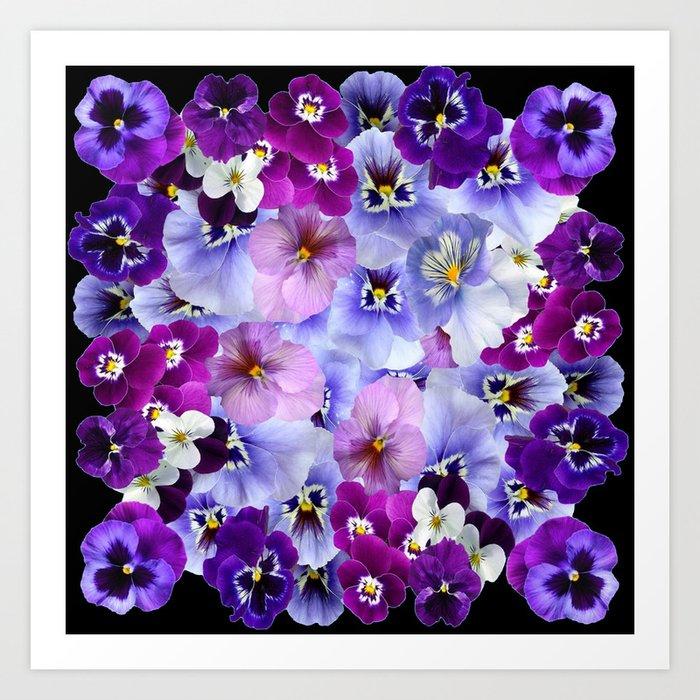 Purple white pink pansy flowers black art art print by sharlesart purple white pink pansy flowers black art art print mightylinksfo