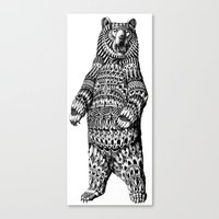 ornate Canvas Prints featuring Ornate Grizzly Bear by BIOWORKZ