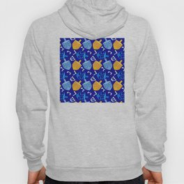 Hanukkah Contemporary Dreidel Pattern in Blue and Gold Hoody