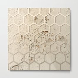 Hexagon on Beige Grunge Wall Metal Print