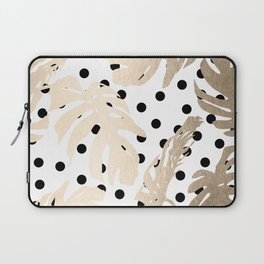 Simply Tropical White Gold Sands Palm Leaves on Dots Laptop Sleeve