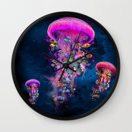 Floating Electric Jellyfish Worlds Wall Clock