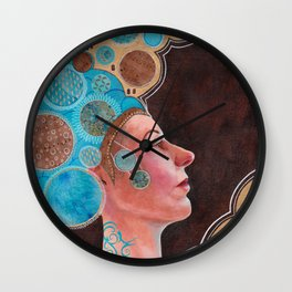 Queen in Gold and Teal Wall Clock