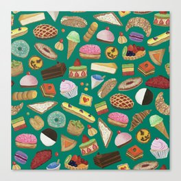 Desserts of NYC Green Canvas Print