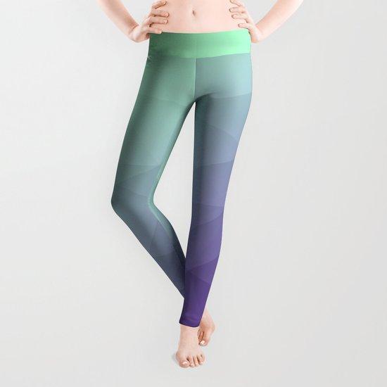 Purple green ombre gradient geometric mesh Leggings