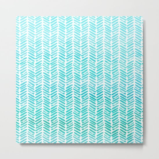 Handpainted Chevron pattern-small-light green and aqua teal Metal Print