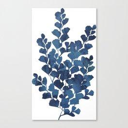 Blue watercolor maidenhair fern Canvas Print