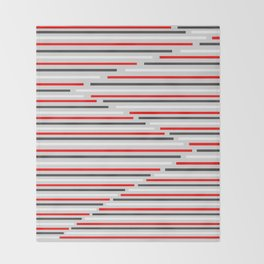 Mixed Signals Abstract - Red, Gray, Black, White Throw Blanket