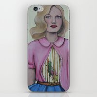 cage iPhone & iPod Skins featuring Bird cage/Rib cage by Emma Berlin
