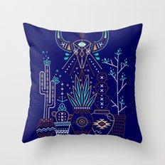Santa Fe Garden – Navy Throw Pillow