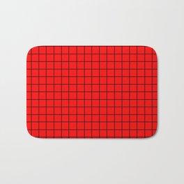Black Grid On Red Bath Mat