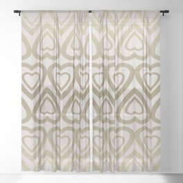 Golden Hearts Valentine - Gold Sheer Curtain