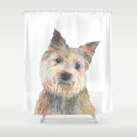 terrier Shower Curtains featuring Cairn Terrier by Jamworth