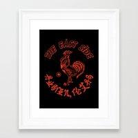 sriracha Framed Art Prints featuring East Side Austin, Tx - Sriracha spoof by Sanctuary Printshop