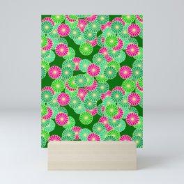 Art Deco Flower Pattern, Shades of Jade Green and Fuchsia Mini Art Print