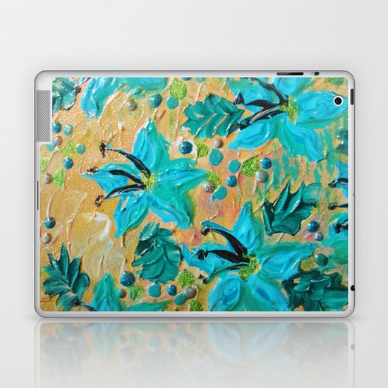 BLOOMING BEAUTIFUL - Modern Abstract Acrylic Tropical Floral Painting, Home Decor Gift for Her Laptop & iPad Skin