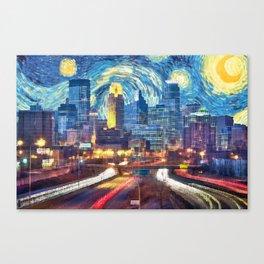 Minneapolis Starry Night Canvas Print