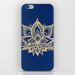 Gold and Blue Lotus Flower Mandala iPhone Skin
