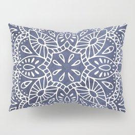 Mandala Vintage White on Ocean Fog Gray Pillow Sham