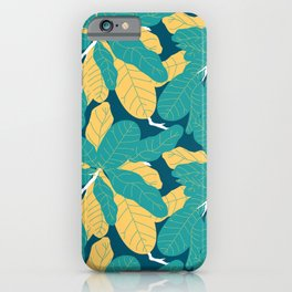 Tropicana Banana Leaves in Jungle Green + Banana Yellow iPhone Case