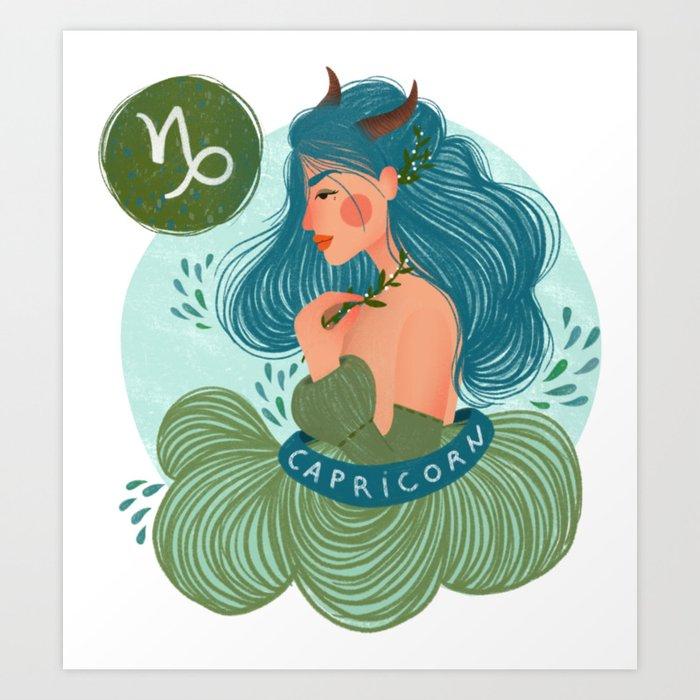 Capricorn Zodiac Illustration Art Print