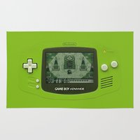 gameboy Area & Throw Rugs featuring Gameboy Zelda Link by Electra