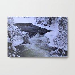 Water Fall In Winter Metal Print