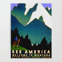 See America Montana - Retro Travel Poster Poster
