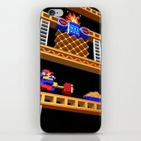 donkey kong iPhone & iPod Skins featuring Inside Donkey Kong stage 2 by Metin Seven