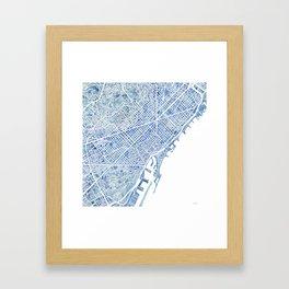 Barcelona Blueprint Watercolor City Map Framed Art Print
