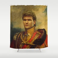replaceface Shower Curtains featuring Patrick Swayze - replaceface by replaceface