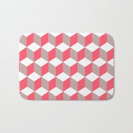 Diamond Repeating Pattern In Poppy and Soft Grey Bath Mat