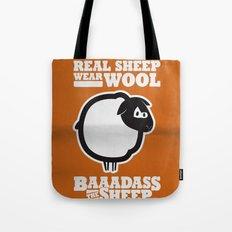 Baaadass the Sheep: Real Sheep Wear Wool Tote Bag