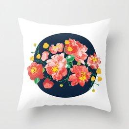 Peonies Illustration Throw Pillow