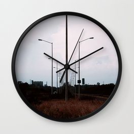 lampposts twilight sunset grass Wall Clock