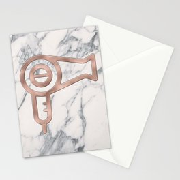 Rose Gold Blow Dryer on Marble Background - Salon Decor Stationery Cards