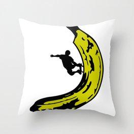 A Slick Banana Skater Throw Pillow