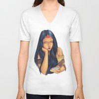 pocahontas V-neck T-shirts featuring Pocahontas by Bárbara  Kramer