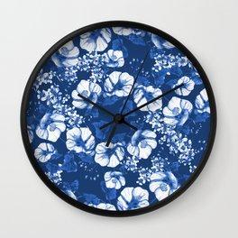 Midnight Blooms - Blue Porcelain  Wall Clock
